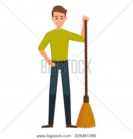 Cartoon Male Vector Character With A Broom. Cleaner Boy Is Holding A Broom.cleaner Roads, Streets, A