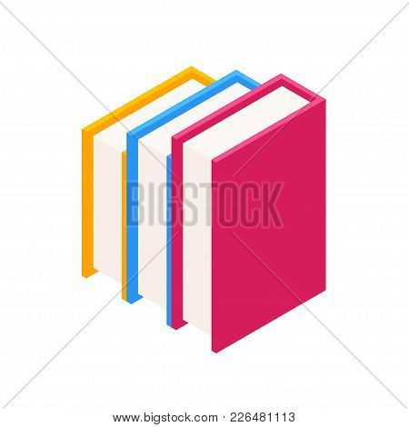 Vector Set Of Colorful Vertical Stacks Of Books In Isometric.education Infographic Template Design W