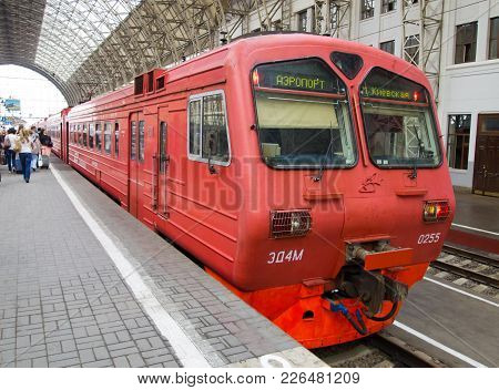 Moscow, Russia - May 18, 2013: Aeroexpress At The Platform Of The Kievsky Railway Station