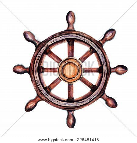 Old Vintage Ship's Wheel. Marine Themes For The Decor Of Your Design.