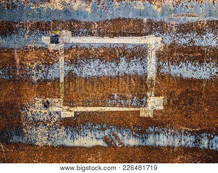 Paper Frame Left On Eroded Metal Surface, Abstract Grunge Background