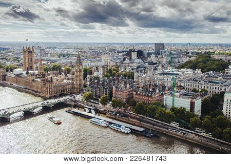 Beautiful View Of London With Its Famous Builduings: Big Ben, Palace Of Westmisnter, Westmisnter Bri