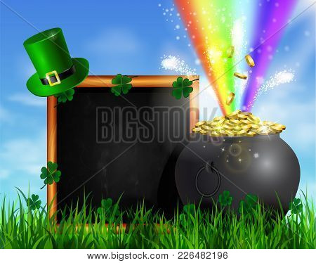 St. Patrick S Day Symbol Green Pot Full Of Gold Coins And Rainbow With Chalk Board In Frame With Lep