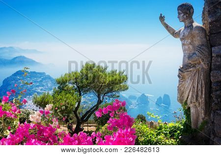 Beautiful Nature And Architecture Of Capri Island At Summer Day, Italy