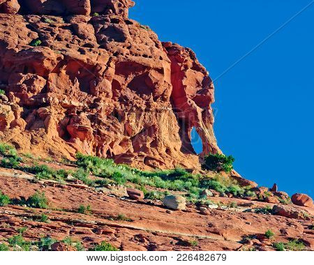 A Famous Rock Arch Formation In Sedona Arizona On The Top Of Mitten Ridge Known As Elephant Head Arc