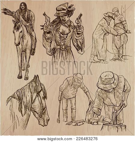 An Hand Drawn Collection, Vector Pack - Wild West, American Frontier And Native Americans. Early Wes