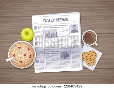 Latest News At Breakfast. Daily Newspaper In The Morning On A Wooden Table. Articles, Headings. Oat