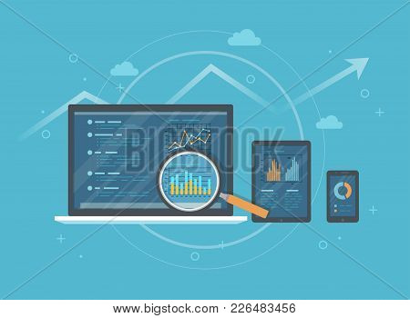 Online Audit, Research, Analysis Concept. Web And Mobile Service. Financial Reports, Charts Graphs O