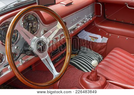 Mercedes Sl 300 Gullwing Interior, 1955 Year, In Red Colour, Exposed In The Center Of The City, On A