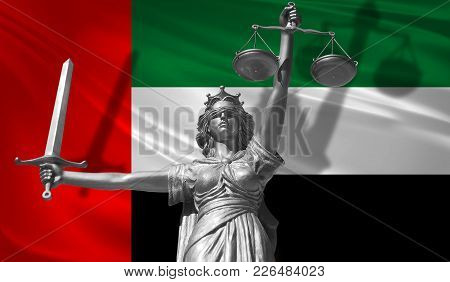 Cover About Law. Statue Of God Of Justice Themis With Flag Of United Arab Emirates Background. Origi