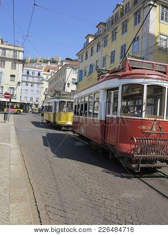 Old Tram In Lisbon, Portugal