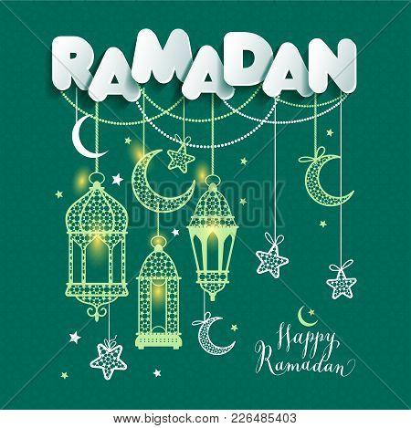 Ramadan Kareem Greting Illustration Of Ramadan Celebration On Green.