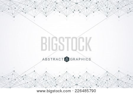 Geometric Abstract Background With Connected Line And Dots. Big Data Visualization. Global Network C
