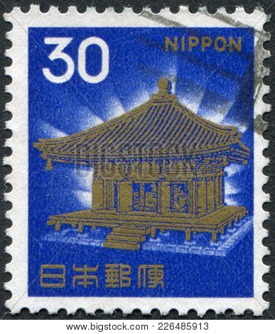Japan - Circa 1968: A Stamp Printed In Japan, Depicts Golden Hall, Chusonji, Circa 1968