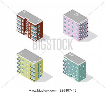 Set Of Detailed Isometric Houses Isolated On White Backgroung. Low Poly Town Building, Isometric Ico