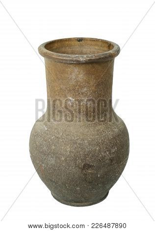 A Vintage Old Clay Terracotta  Brown Jug On A White Background, Isolated