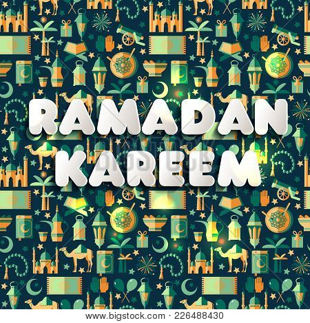 Ramadan Kareem Icons Set Of Arabian.seamless Pattern.