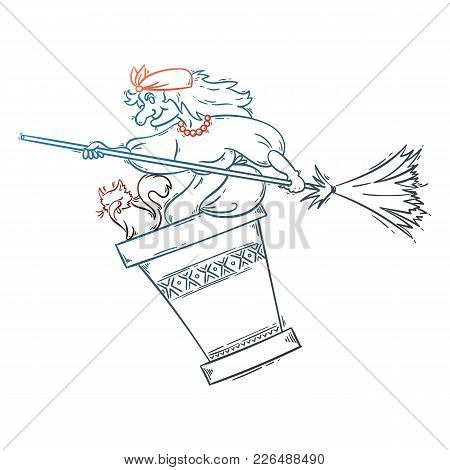 Baba Yaga Flying In A Mortar With Cat And Broomstick In The Night. Russian Granny Witch. Halloween V