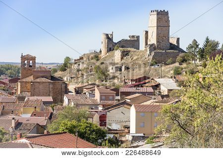 A View Of Coruña Del Conde Town And The Castle, Province Of Burgos, Spain
