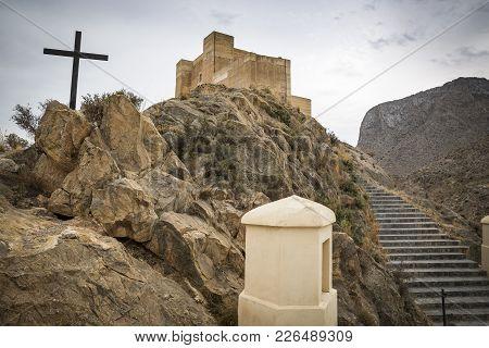 Santa Barbara (ayala) Castle And The Via Crucis (calvary) In Cox Town, Province Of Alicante, Spain