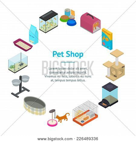 Accessories For Domestic Pets Banner Card Circle Care Animal Isometric View Equipment For Dog And Ca