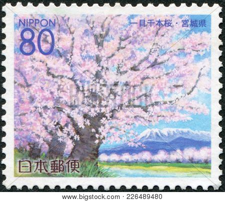 Japan - Circa 2000: A Stamp Printed In Japan, Prefecture Miyagi, Portrayed Cherry Blossoms, Circa 20