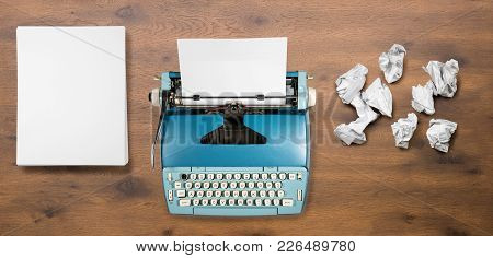 Modern Electric Typewriter On Wooden Desk Background With Papers Ready For A New Book Or Novel With