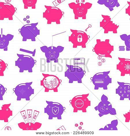 Piggy Bank Symbol Of Money Finance Investment Seamless Pattern Background On A White Project Save Cu