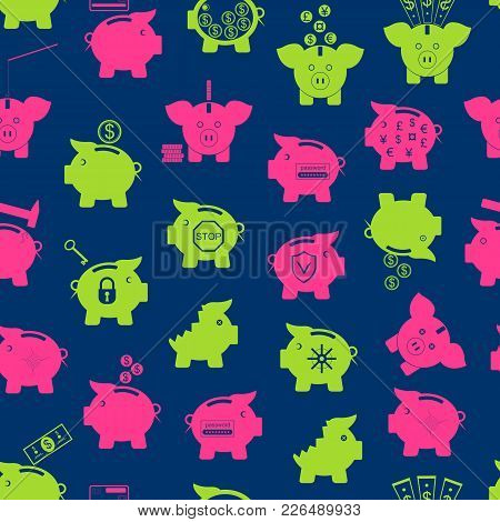 Piggy Bank Symbol Of Money Finance Investment Seamless Pattern Background On A Blue Project Save Cur