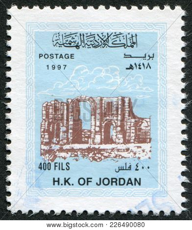 Jordan-circa 1997: A Stamp Printed In The Jordan, Is Depicted Triumphal Arch In Jerash, Circa 1997
