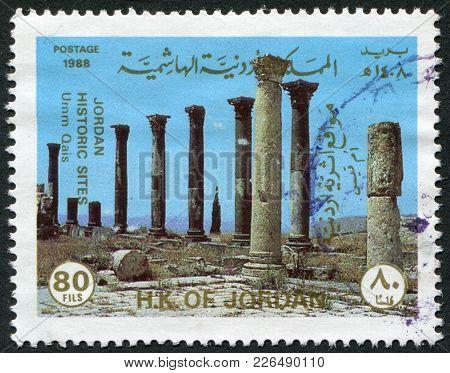 Jordan-circa 1988: A Stamp Printed In The Jordan, Is Depicted Umm Qais, Circa 1988