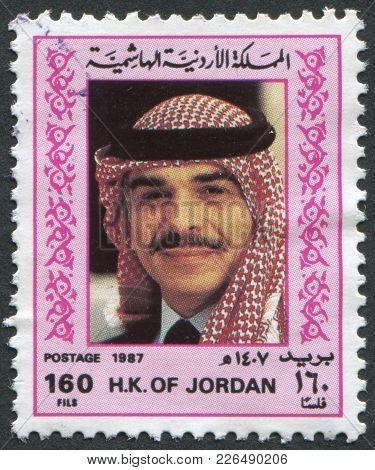 Jordan-circa 1987: A Stamp Printed In The Jordan, Depicts King Hussein, Circa 1987