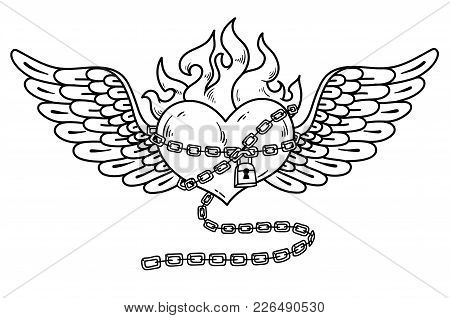 Flying Heart In Chains Of Love. Flaming Heart Tattoo. Loving Heart On Chain. Tattoo Heart Flushed Wi