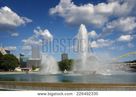 View Of Downtown Pittsburgh And Fountain At  Point State Park