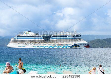 Island Bacardi ( Cayo Levantado), Samana, Dominican Republic. January 2018. Beautiful And Big Cruise