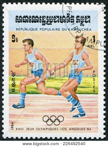 Kampuchea-circa 1984: A Stamp Printed In The Kampuchea, Is Dedicated To Summer Olympic Games In Los