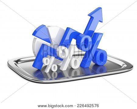 Graph, Diagram And Dark Blue Percent Signs On A Square Restaurant Cloche. Business Concept Of Succes