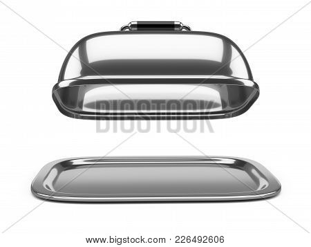 Empty Square Restaurant Cloche With Open Lid. 3d Illustration Over White Background.