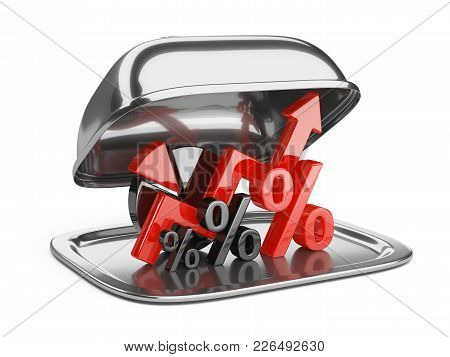Graph, Diagram And Percent Signs On A Square Restaurant Cloche With Open Lid. Business Concept Of Su