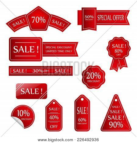 Sale Vector Banner.  Sale Sticker.special Offer Sale Sticker In Flat Style. Discount Tag. Special Of