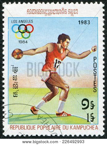 Kampuchea-circa 1983: A Stamp Printed In The Kampuchea, Is Dedicated To Summer Olympic Games In Los