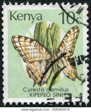 Kenya - Circa 1988: Postage Stamps Printed In Kenya, Shows The Butterfly The African Map Butterfly (