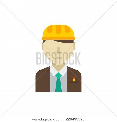 Engineer Icon Flat Symbol. Isolated Vector Illustration Of Contractor Sign Concept For Your Web Site