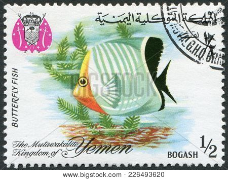 Kingdom Of Yemen - Circa 1967: A Stamp Printed In The Kingdom Of Yemen, Shows Tropical Fish Butterfl