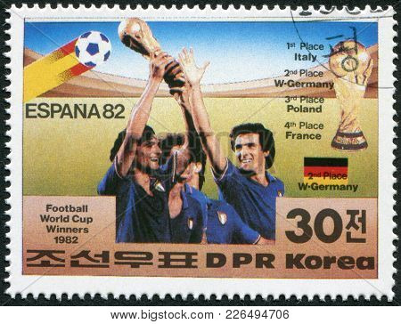 North Korea - Circa 1982: A Stamp Printed In North Korea Shows The Finalists Of The World Cup, Spain