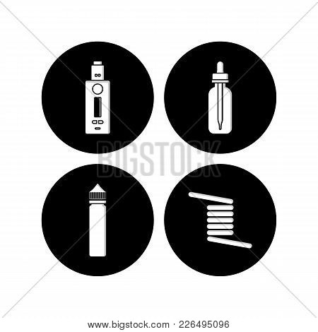 Personal Vaporizer E-cigarette Icon Sign Set