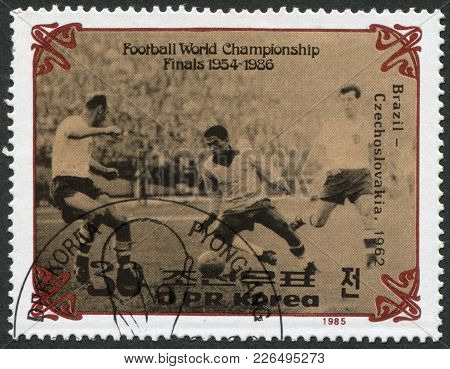 North Korea - Circa 1985: A Stamp Printed In North Korea, Shows The Final World Cup 1962, Brazil - C