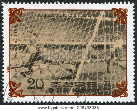 North Korea - Circa 1985: A Stamp Printed In North Korea, Shows The Final World Cup 1958, Brazil - S