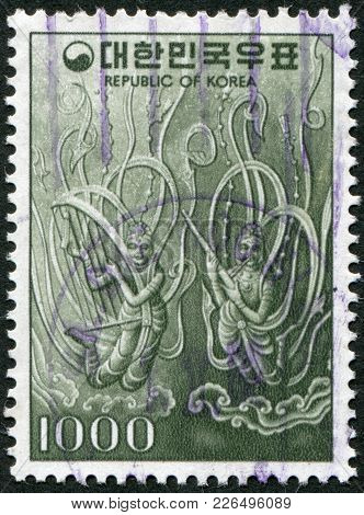 Korea - Circa 1978: A Stamp Printed In Korea, Shows A Pattern On A Bronze Bell, Circa 1978