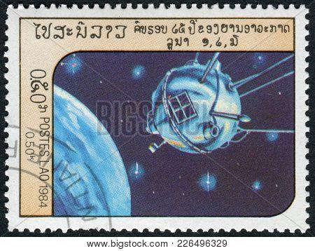 Laos-circa 1984: A Stamp Printed In The Laos, Depicts The Spacecraft Luna 1, Circa 1984